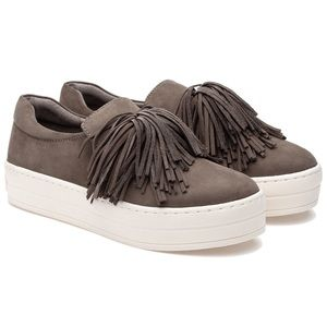J/Slides Hope Fossil Slip-ons, size 7.5 in taupe
